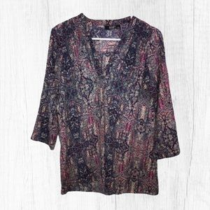 ANA A New Approach Paisley Print Blouse Small